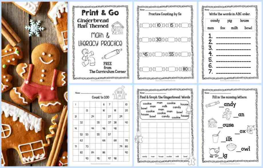Use these free Gingerbread practice pages for quick review of skills during the month of December.