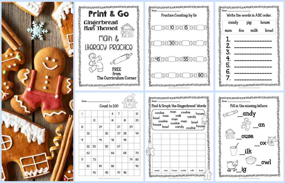 FREE Gingerbread Practice Pages Print & Go Math and LIteracy Pages by The Curriculum Corner FREEBIE kindergarten & 1st grade