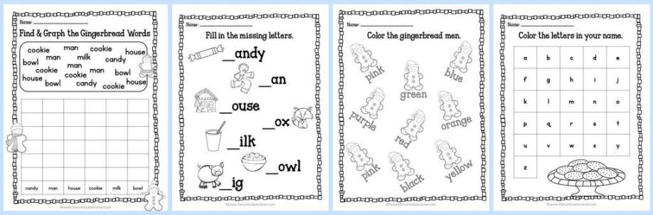FREE Gingerbread Print & Go Math and LIteracy Practice Pages by The Curriculum Corner | kindergarten & first grade