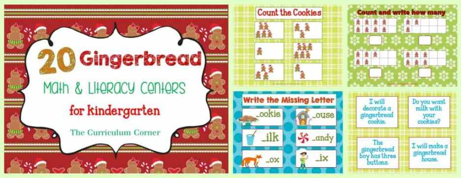 FREEBIE! Gingerbread Man Centers for Math & Literacy from The Curriculum Corner | counting, Fry words, BUMP, roll & read, roll & write, write the room and much more!