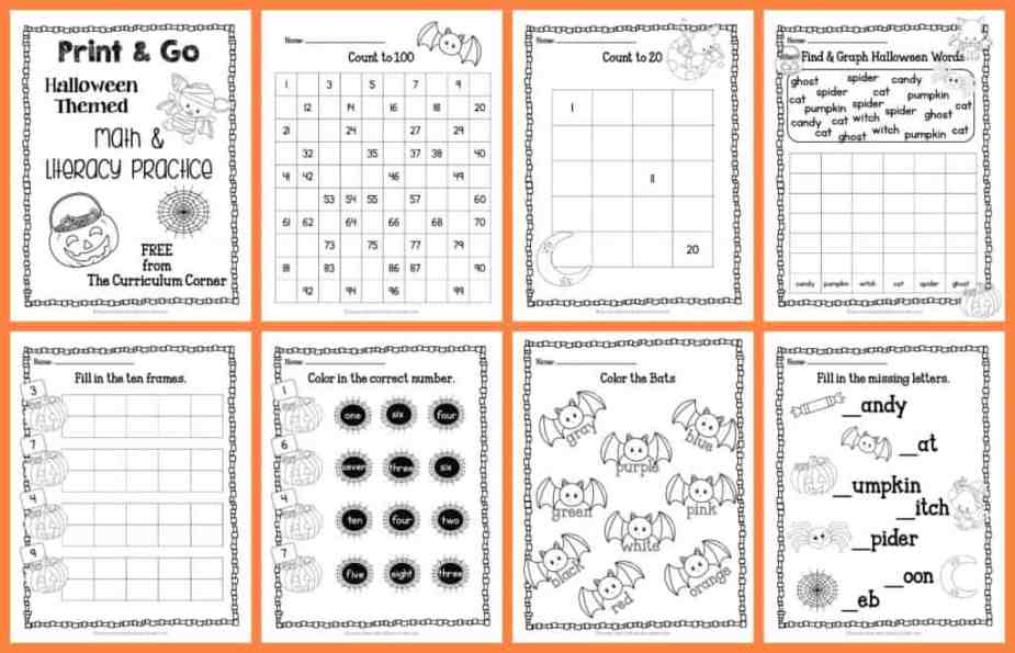 FREE! 22 Halloween Practice Pages - Print & Go Math and Literacy Pages | The Curriculum Corner | morning work | Kindergarten | 1st Grade