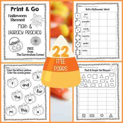 Halloween Print & Go Math and Literacy Practice