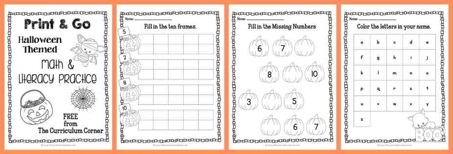 FREE! 22 Halloween Print & Go Math and Literacy Pages | The Curriculum Corner | morning work | Kindergarten | 1st Grade | free printable pages