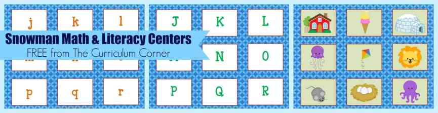 FREE Snowman Math & Literacy Centers from The Curriculum Corner | kindergarten | 1st grade | winter | snowmen | FREE centers