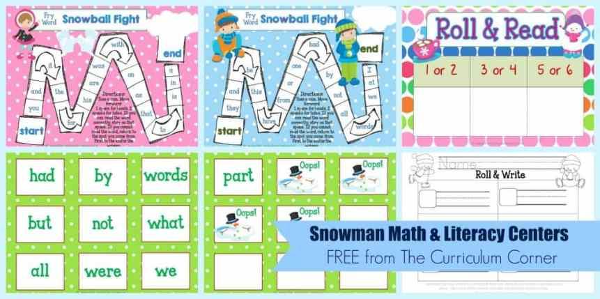 FREE Snowman Math & Literacy Centers from The Curriculum Corner | kindergarten | 1st grade | winter | snowmen | FREEBIES!