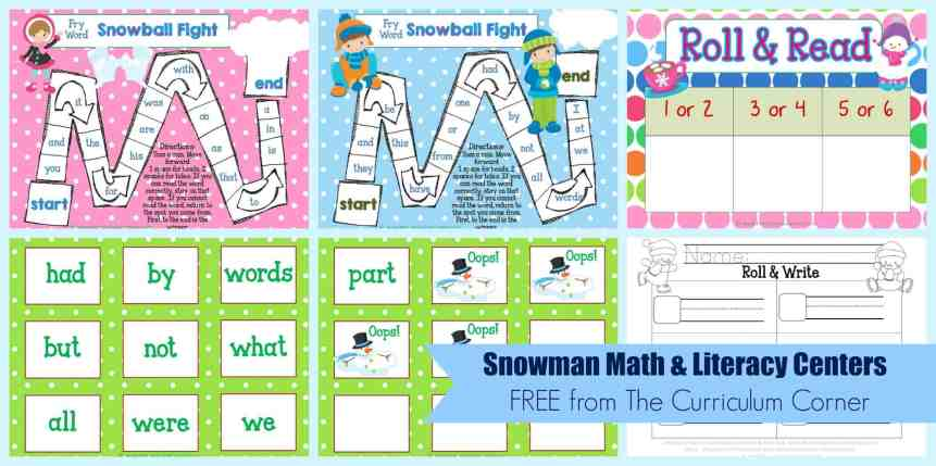 FREE Snowman Math & Literacy Centers from The Curriculum Corner | kindergarten | 1st grade | winter | snowmen | FREEBIES!