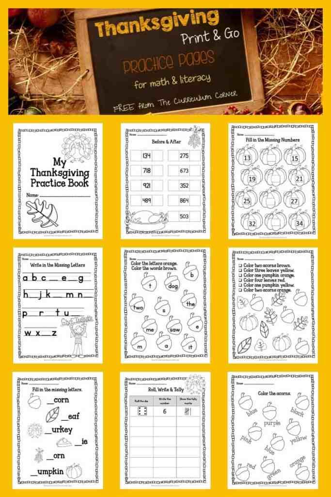 Thanksgiving worksheets
