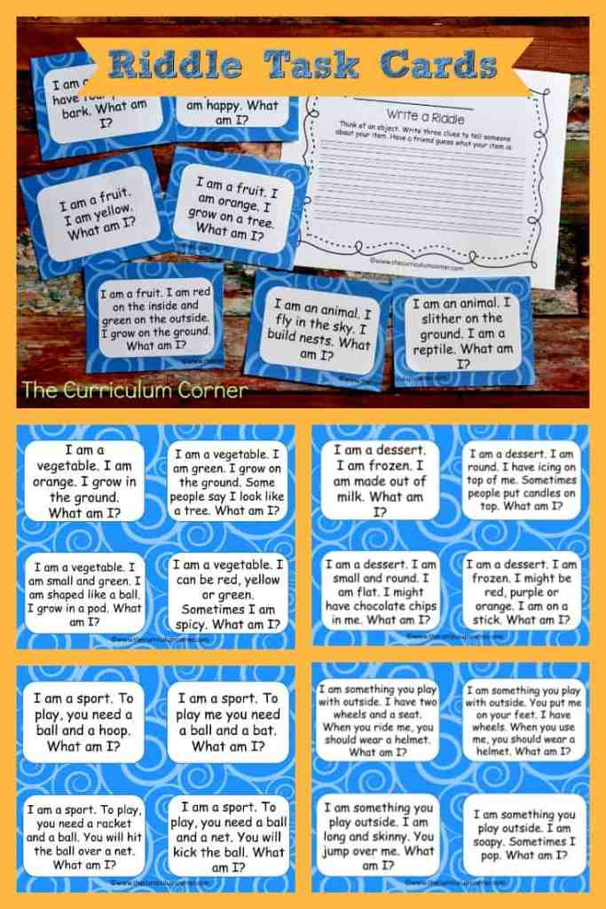 FREE Riddle Task Cards (Inferencing Activities) 2 FREEBIE