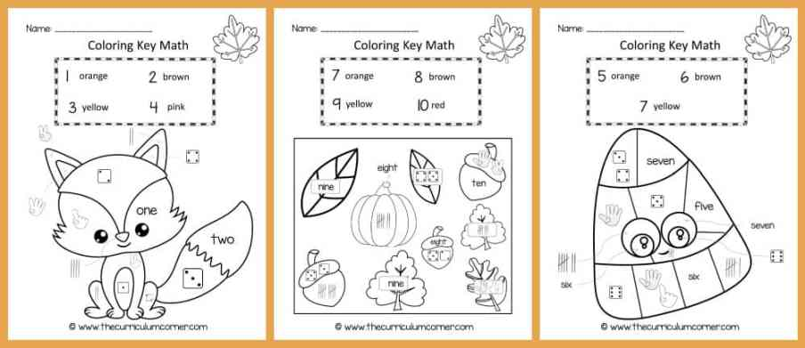 FREE Color Key Math | Number Identification | Kindergarten | The Curriculum Corner 2