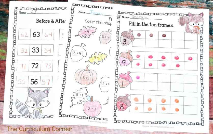 FREE Woodland Animals Print & Go Practice Pages for Math & Literacy from The Curriculum Corner 4