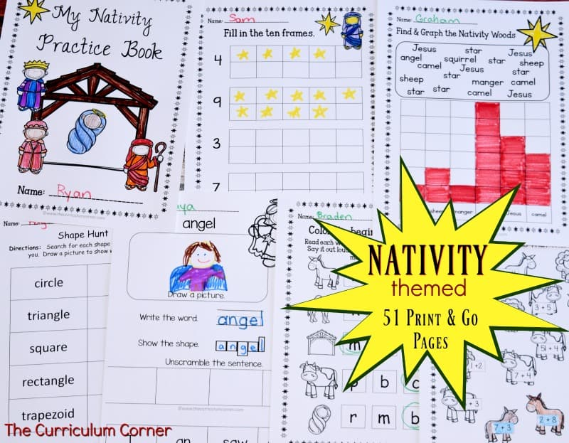 Nativity Themed Printables FREE from The Curriculum Corner