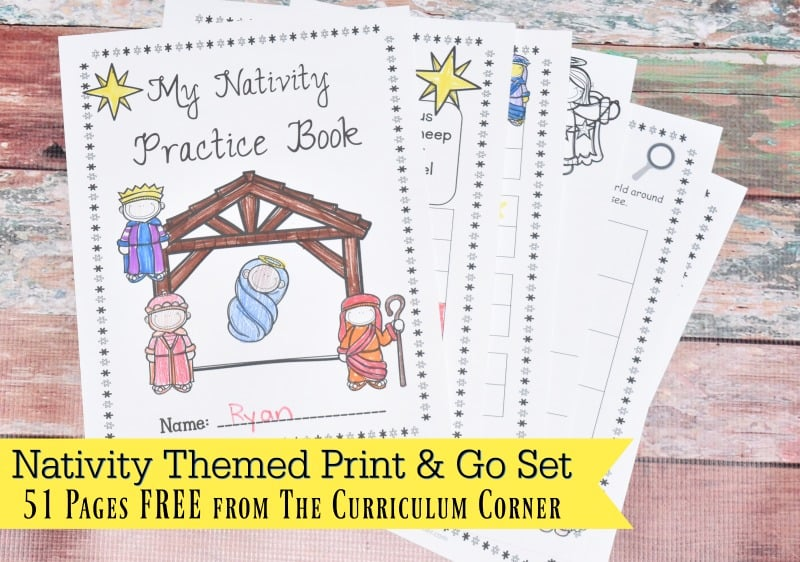 This free collection of math and literacy nativity themed printables (nativity worksheets) for print & go review is designed for skill practice.