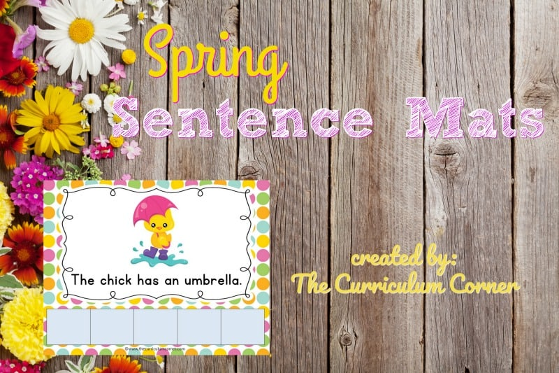 FREE Spring Sentence Mats from The Curriculum Corner