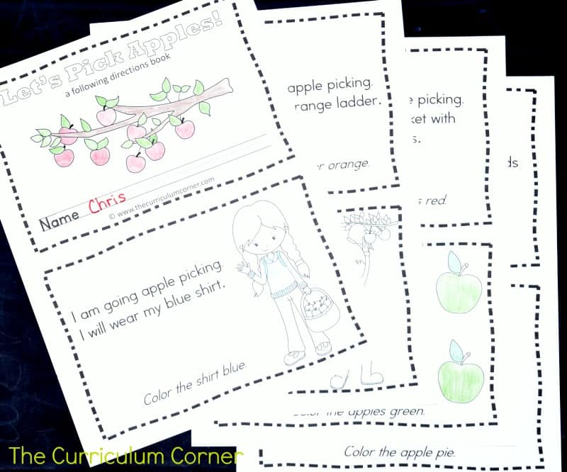 This simple apple following directions booklet is perfect for your kinders! It is a great free addition to your fall curriculum.