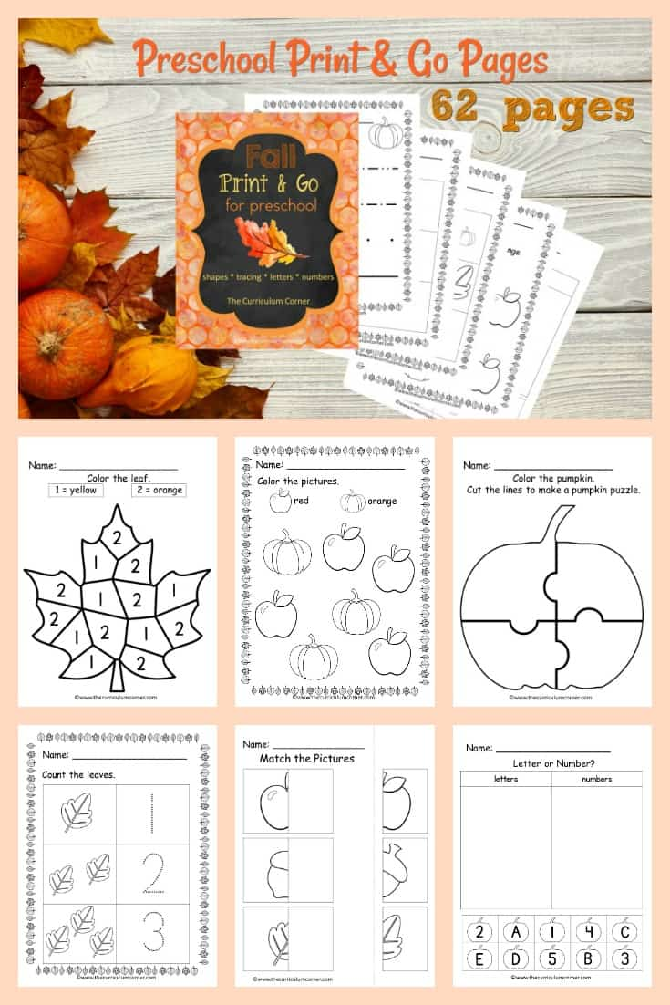 This free fall preschool print and go collection is designed to give your preschool and prekindergarten students fall themed practice.