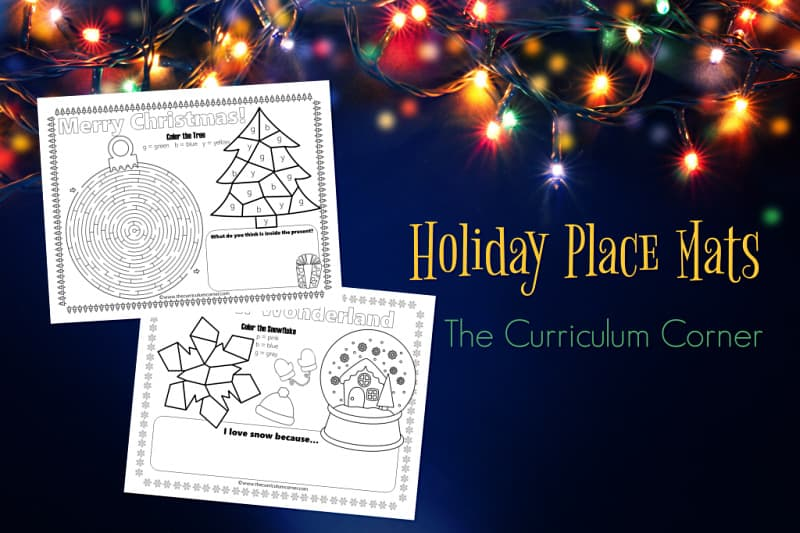Use these fun and free holiday place mats to add a little fun to your Christmas table - either at school or at home!