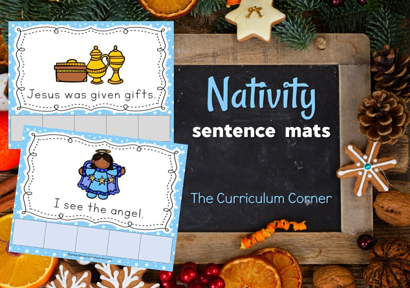 This set of nativity scrambled sentence mats provides an engaging and fun literacy center for your kindergarten classroom.