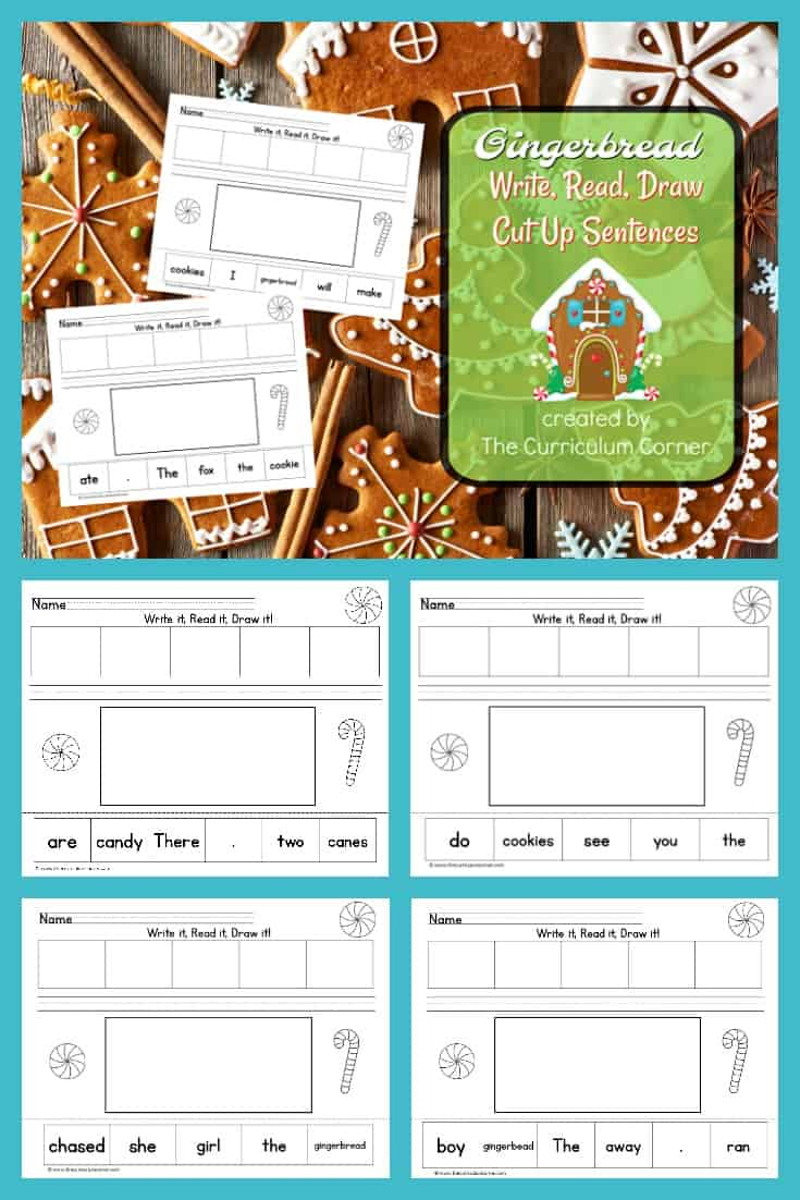 These Write, Read, Draw pages are cut up gingerbread sentences designed to fit into your December activities. Free literacy center activity from The Curriculum Corner