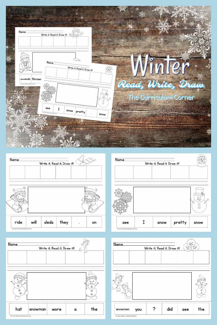 These Write, Read & Draw pages are cut up winter sentences designed to fit into your December and January activities.
