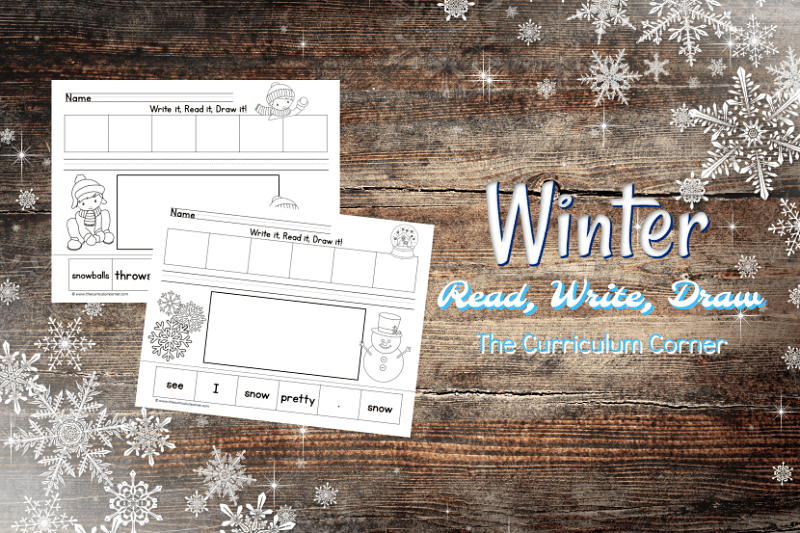 These Write, Read, Draw pages are cut up winter sentences designed to fit into your December and January activities. Free from The Curriculum Corner