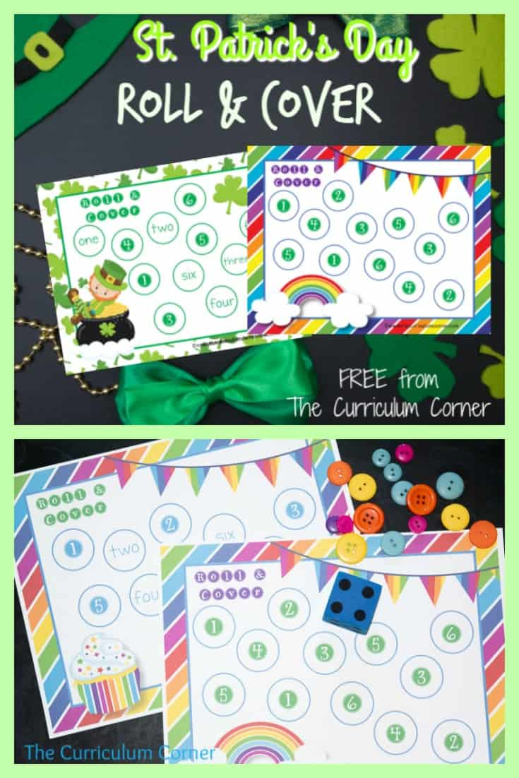 We have created this free St. Patrick's Day roll and cover set to help your students practice identifying the numbers one through six.