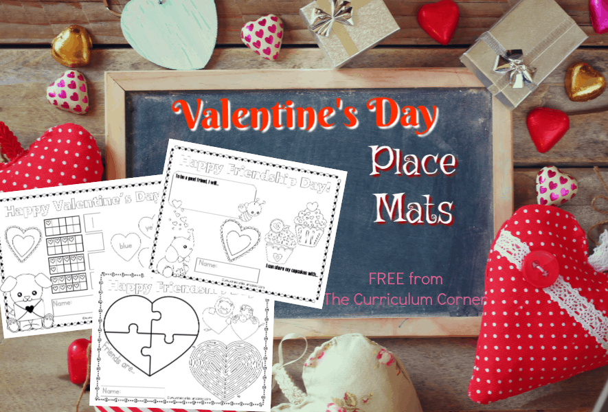 Use these fun and free Valentine's Day place mats to add a little fun to your Valentine's Day table - either at school or at home!