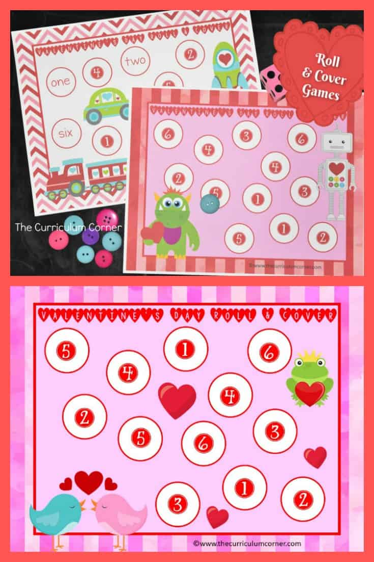 We have created this free Valentine's Day roll and cover set to help your students practice identifying the numbers one through six. Valentine math game from The Curriculum Corner