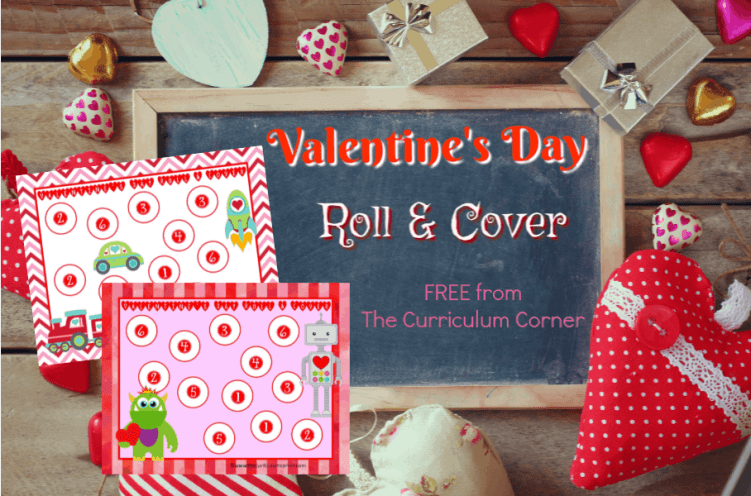 We have created this free Valentine's Day roll and cover set to help your students practice identifying the numbers one through six.