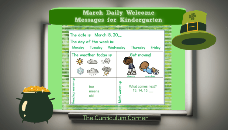 This set of free and editable Kindergarten March Daily Welcome Messages is an easy way to get your students to enter the classroom and focus on the day ahead.