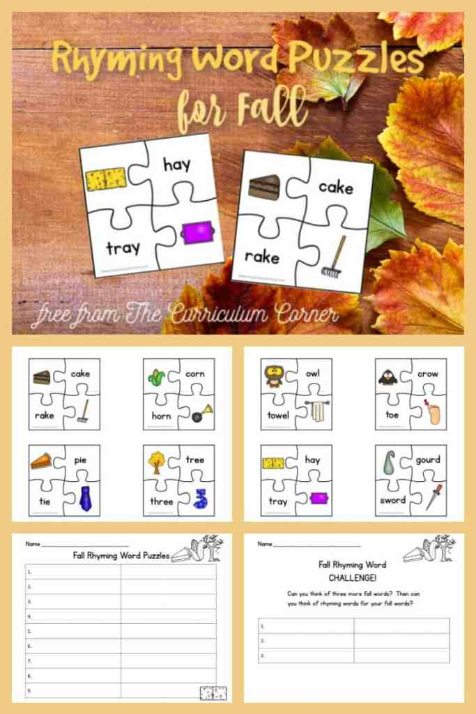 Fall Rhyming Puzzles