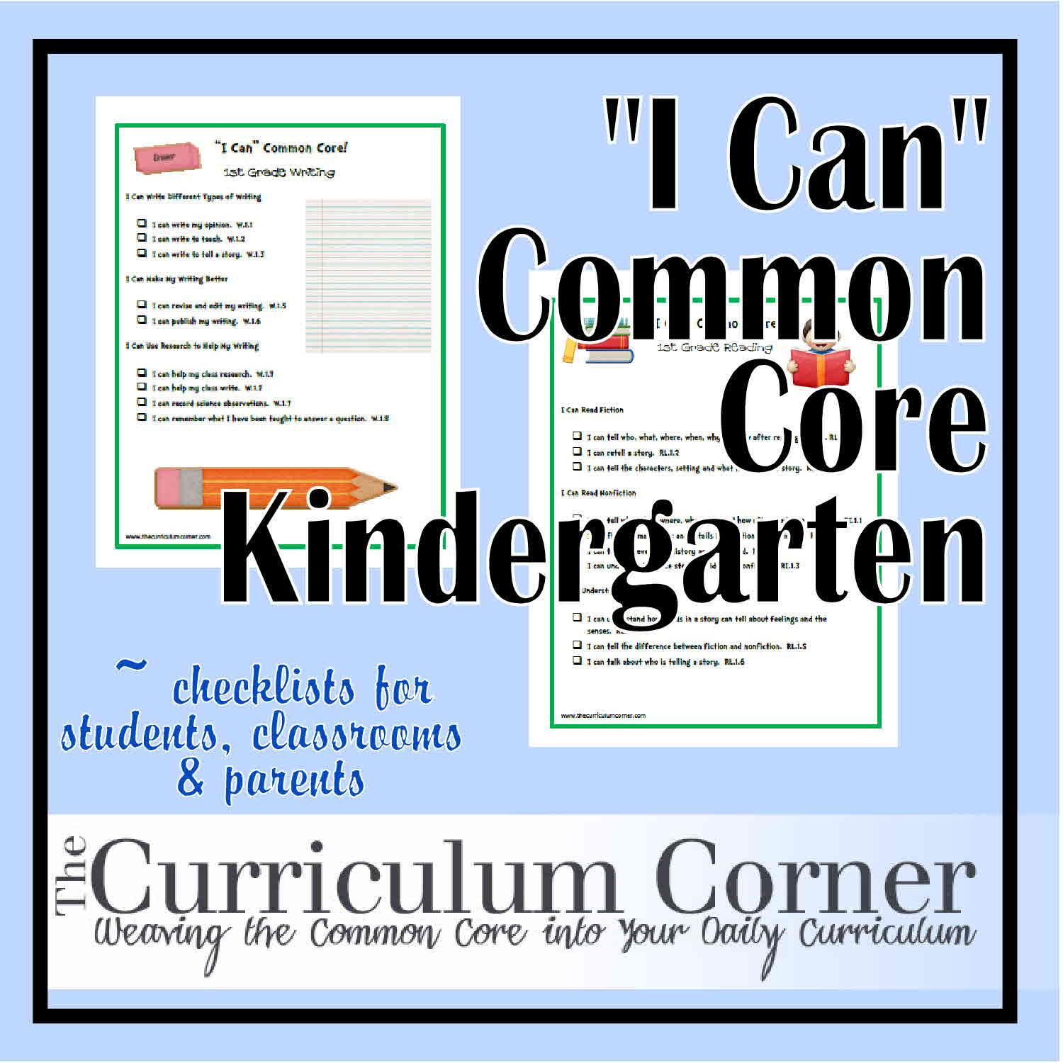 I Can Common Core Standards For Kindergarten