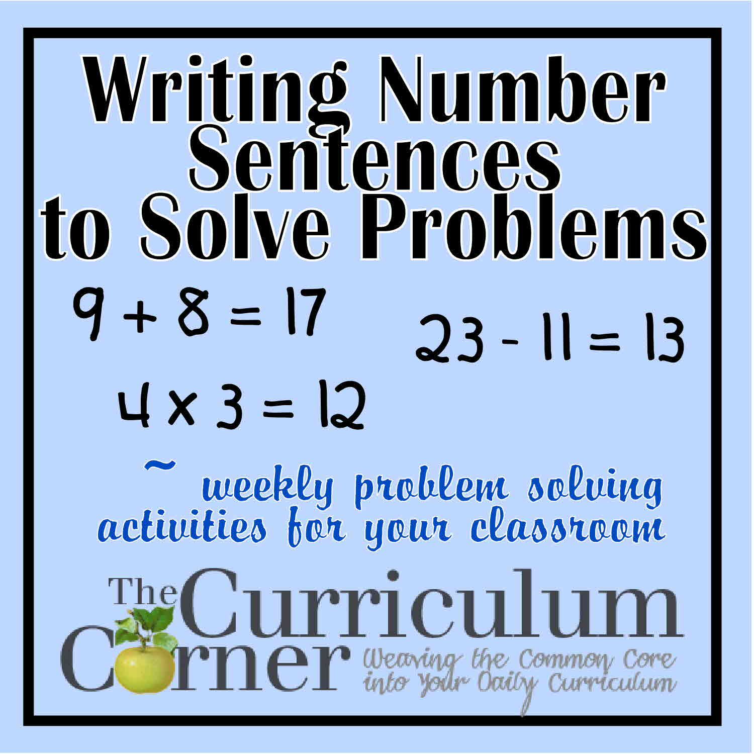 Worksheets Number Sentence Worksheets 2nd Grade writing number sentences to solve problems the curriculum corner 123 help students by a sentence these are designed be used with first second or th