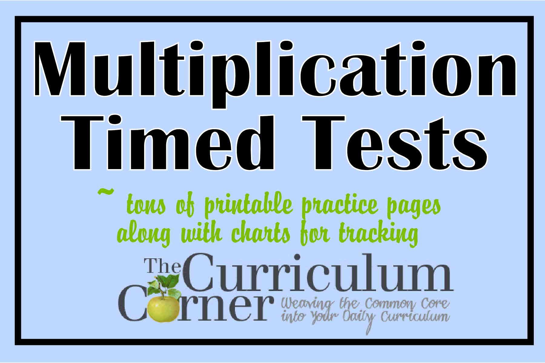 Multiplication Timed Test Printable 0 7