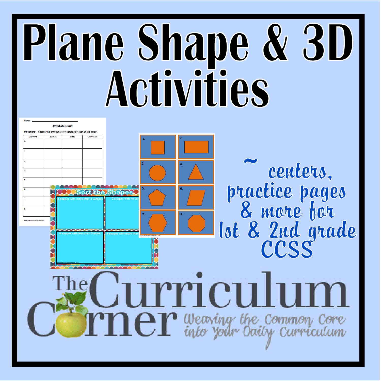 hight resolution of Plane \u0026 3D Shapes Activities - The Curriculum Corner 123