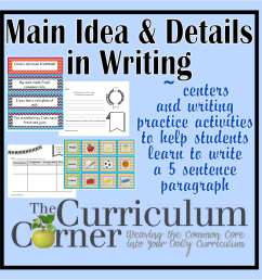 Paragraph Writing - Main Idea \u0026 Details Focus - The Curriculum Corner 123 [ 1500 x 1500 Pixel ]