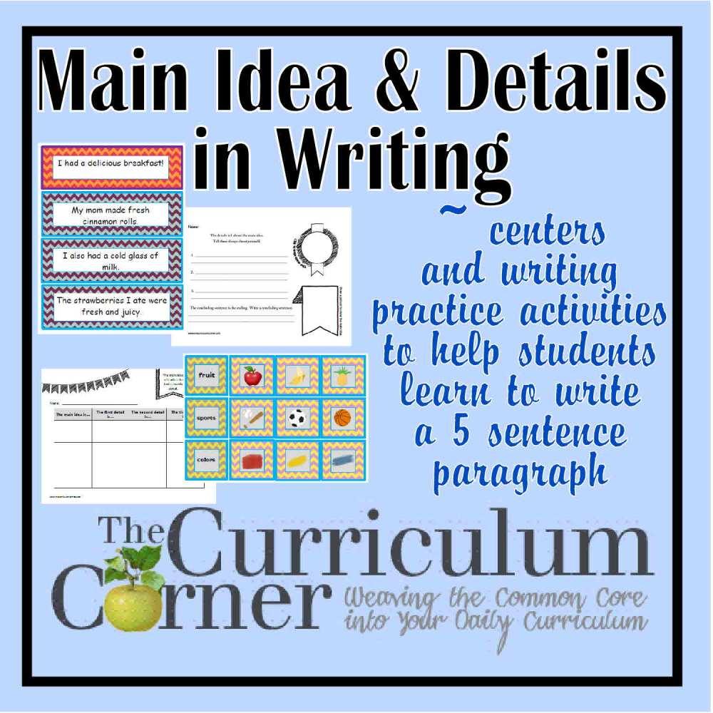 medium resolution of Paragraph Writing - Main Idea \u0026 Details Focus - The Curriculum Corner 123