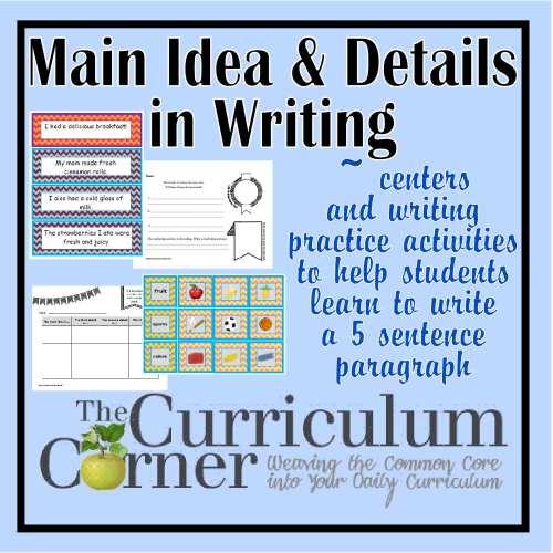 small resolution of Paragraph Writing - Main Idea \u0026 Details Focus - The Curriculum Corner 123