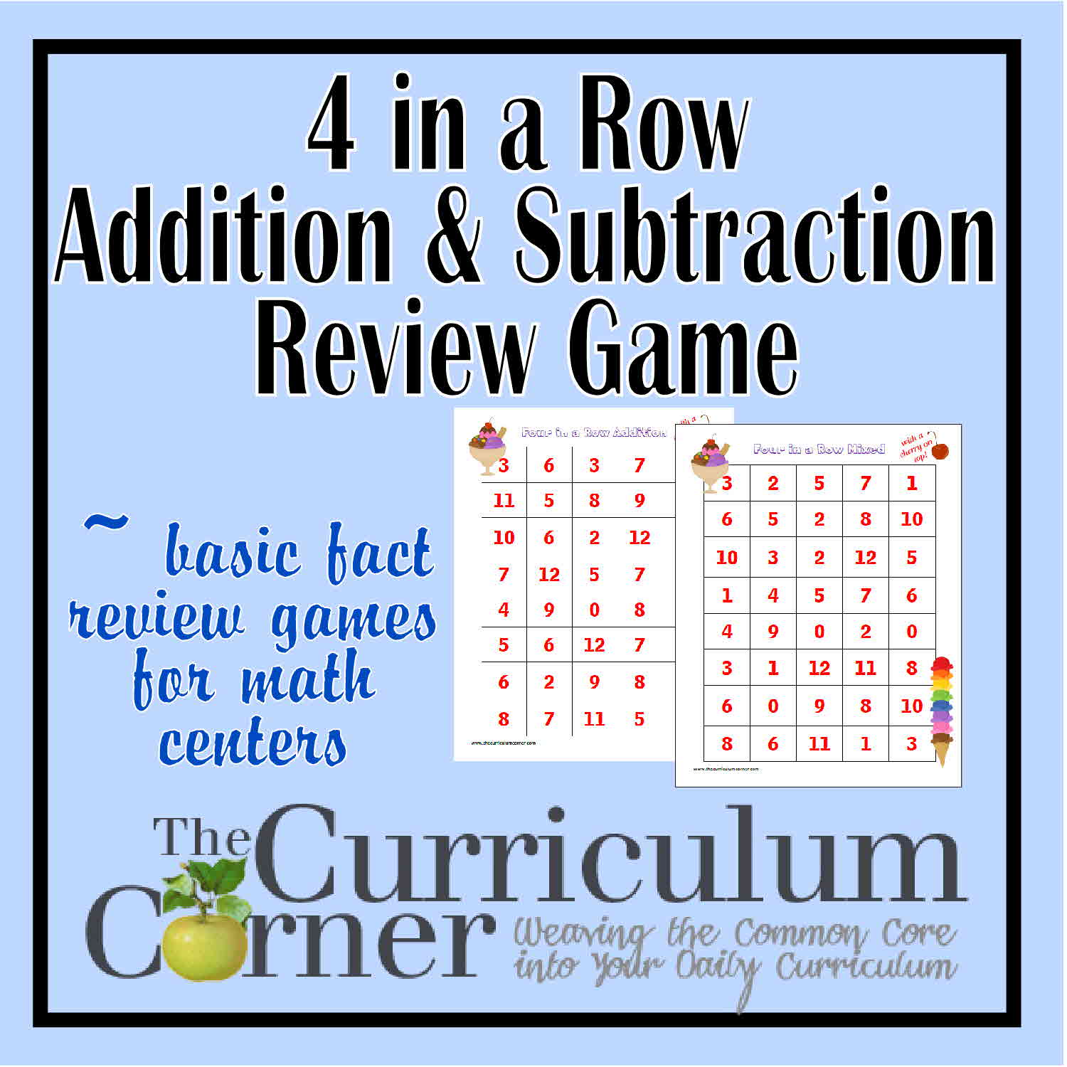 4 In a Row Math Fact Review Games - The Curriculum Corner 123