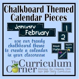 Chalkboard Themed Calendar Pieces