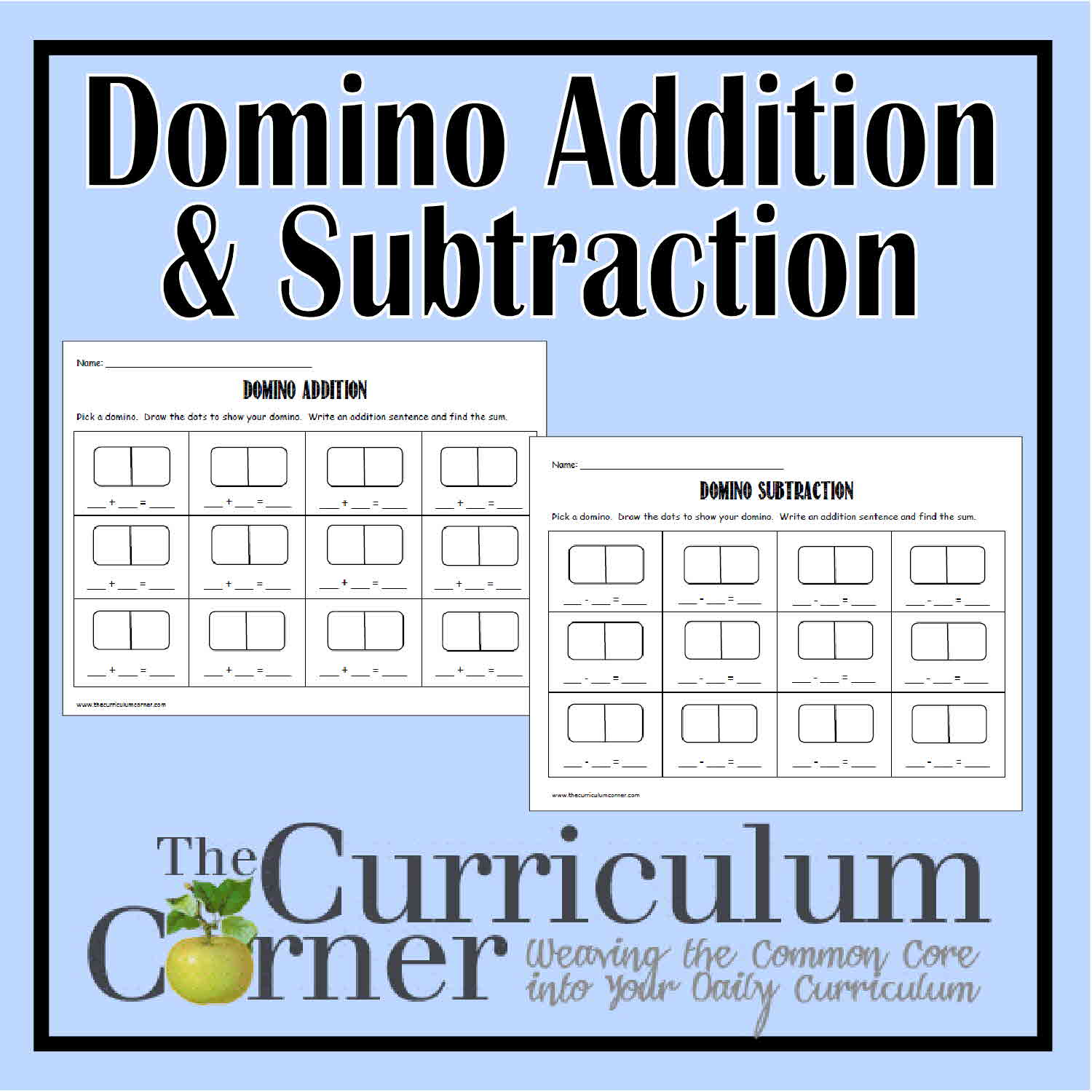Worksheets Domino Addition Worksheet domino math addition subtraction the curriculum corner 123 and subtraction