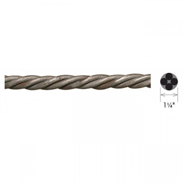1 1 4 solid rope twist curtain rod by the foot