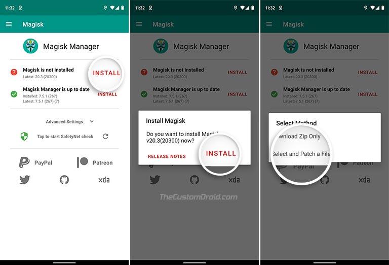 Выберите и исправьте файл в Magisk Manager