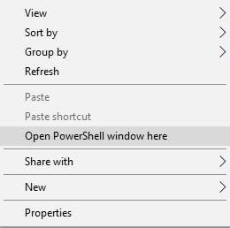 Разблокировать загрузчик на Xiaomi Mi A2 / A2 Lite - откройте окно PowerShell здесь