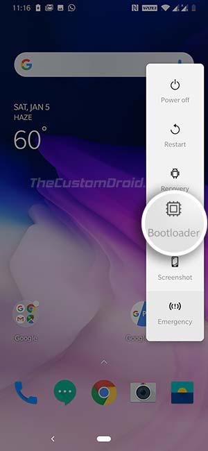 Загрузите OnePlus 7 / OnePlus 7 Pro в режим загрузчика с помощью расширенного меню перезагрузки