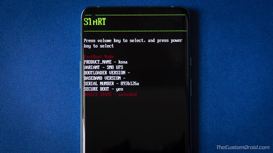 Загрузите OnePlus 8/8 Pro в режим быстрой загрузки