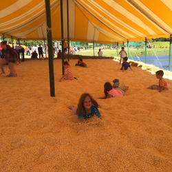The activity all the kids spent the most time at was the Corn Box-- a huge box full of corn kernels. They jumped in the corn, buried themselves in it and came out smiling and covered in corn dust, even with corn in their ears. Perfect kid fun.