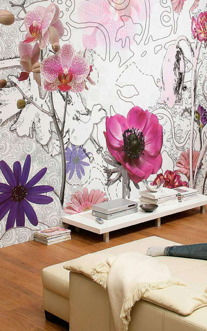 beautiful-living-room-wallpaper-designs- flower pink wallpaper