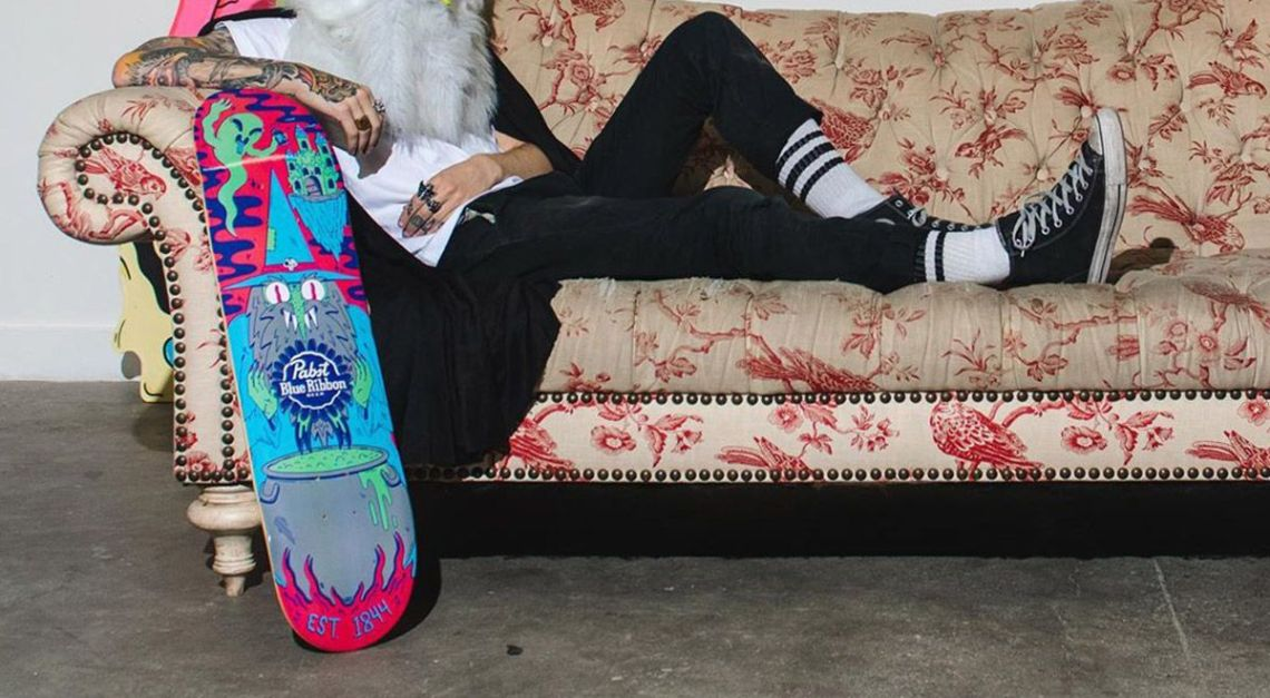 Ride With The Wizard Skateboard By Dakota Cates For Pabst Blue Ribbon