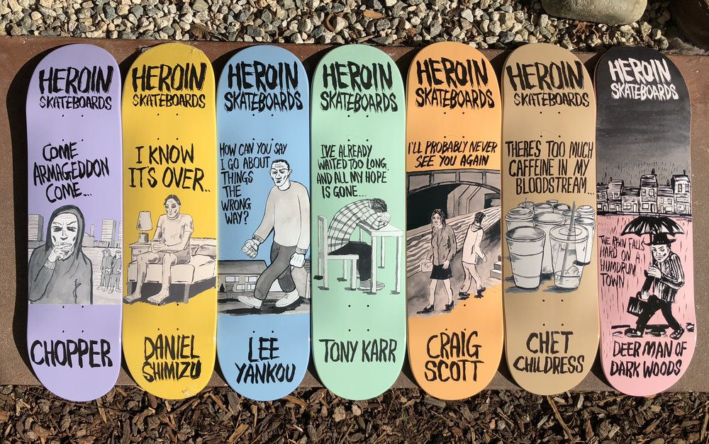 Wordsmith series by Fos for Heroin Skateboards, 2018