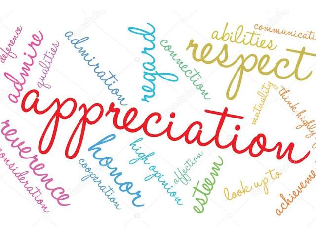 Appreciation. . .